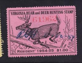 US Stamp Virginia 1954 $1 Big Game Hunting Bear Deer Resident Revenue Us... - $13.42