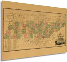 1832 Tennessee State Map - Vintage Map Wall Decor - Historical Map of Te... - $34.99+