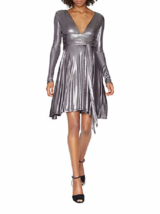 Halston Heritage Gunmetal V-Neck Draped Waist Metallic Jersey Dress ( X/... - $92.57