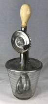 Vintage A&J Whipped Cream Beater & Glass Measuring Cup Anchor Hocking USA Works! - $33.85