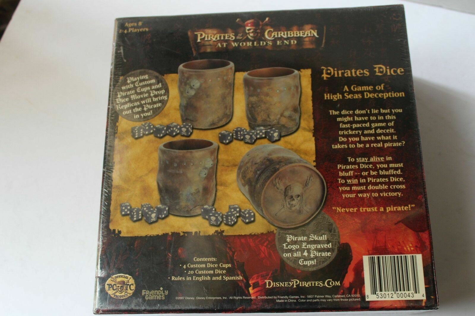 Pirates of the Caribbean DEAD MAN'S CHEST Pirates Dice Game Disney 2007 COMPLETE