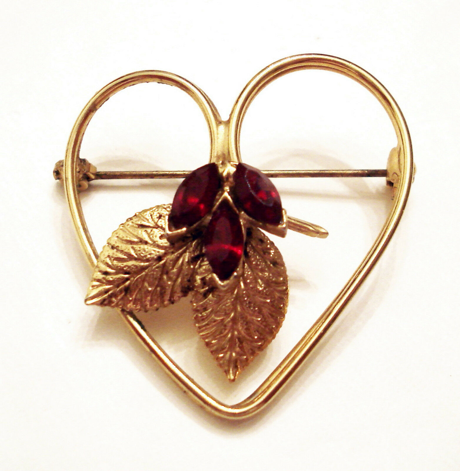 Red Rhinestone Heart Pin Estate Brooch Collectible ✿ Vintage Costume Jewelry - $19.75