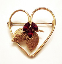 Red Rhinestone Heart Pin Estate Brooch Collectible ✿ Vintage Costume Jew... - $19.75