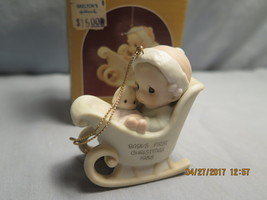 Precious Moments, 520241, 1988, Flower, Baby's First Christmas 1988 - $11.21