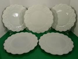 Westmoreland Paneled Grape White Milk Glass Dinner Plate (S) Lot Of 5 - $59.35