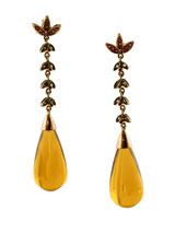 Topaz Drops, Diamonds, Rubies, 9k Rose Gold and Silver Vintage dangle Earrings - $466.00
