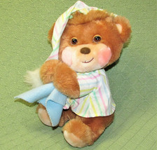 Vintage Plush BEDTIME TEDDY BEAR Fisher Price 1985 STRIPE PAJAMA Blue BL... - $45.82