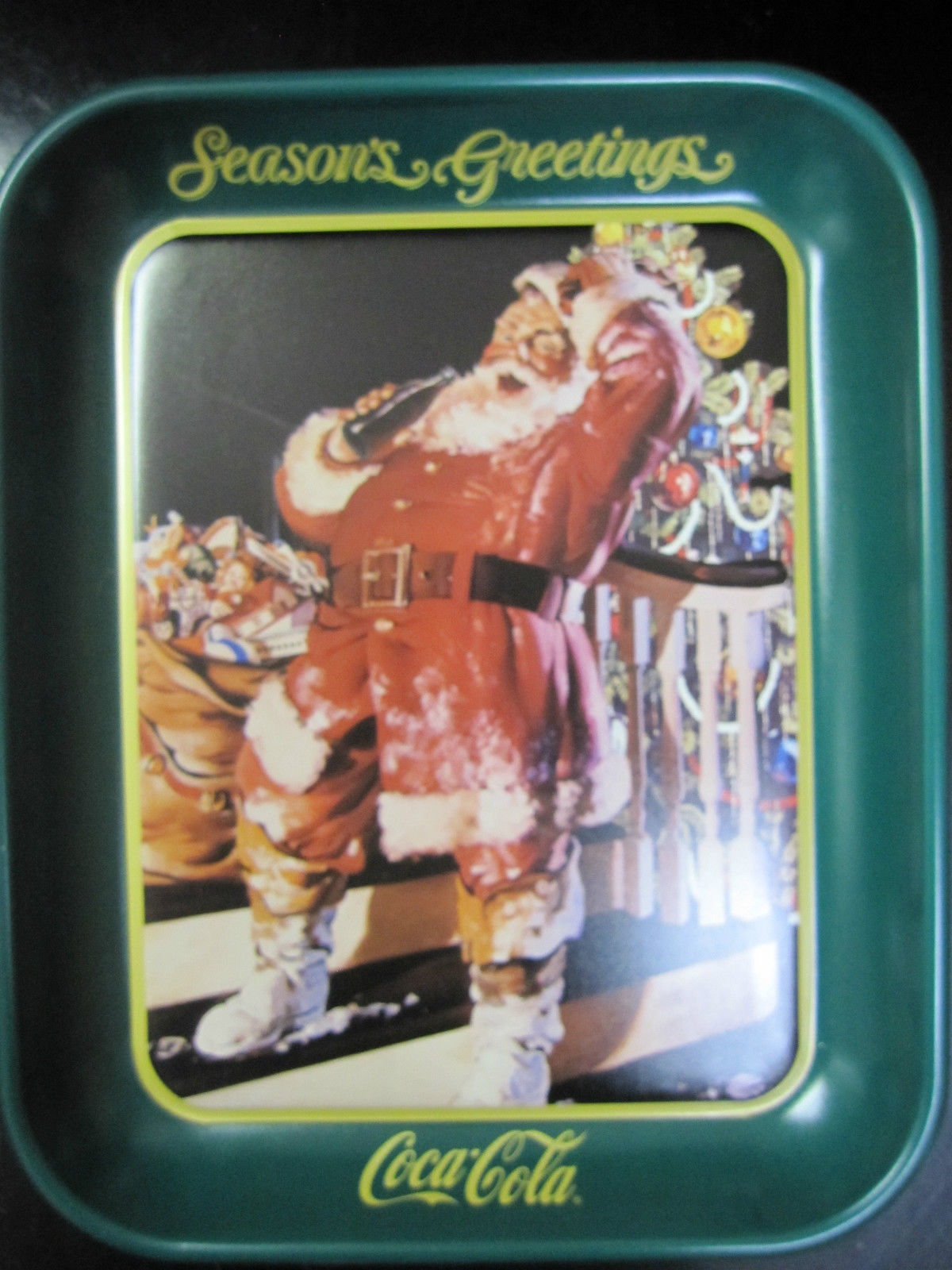 "Primary image for Coca Cola Metal Santa Tray  ""Season's Greetings""- New"