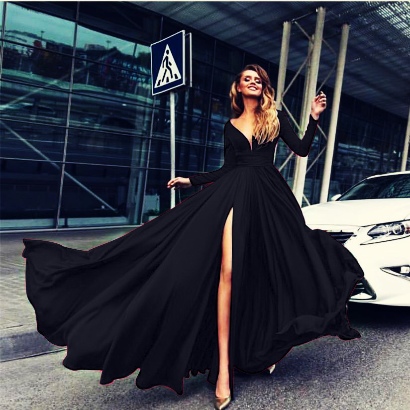 Black  V-Neck Front Slit Long Prom Dress  Sleeve Summer Women Party Gowns 2019