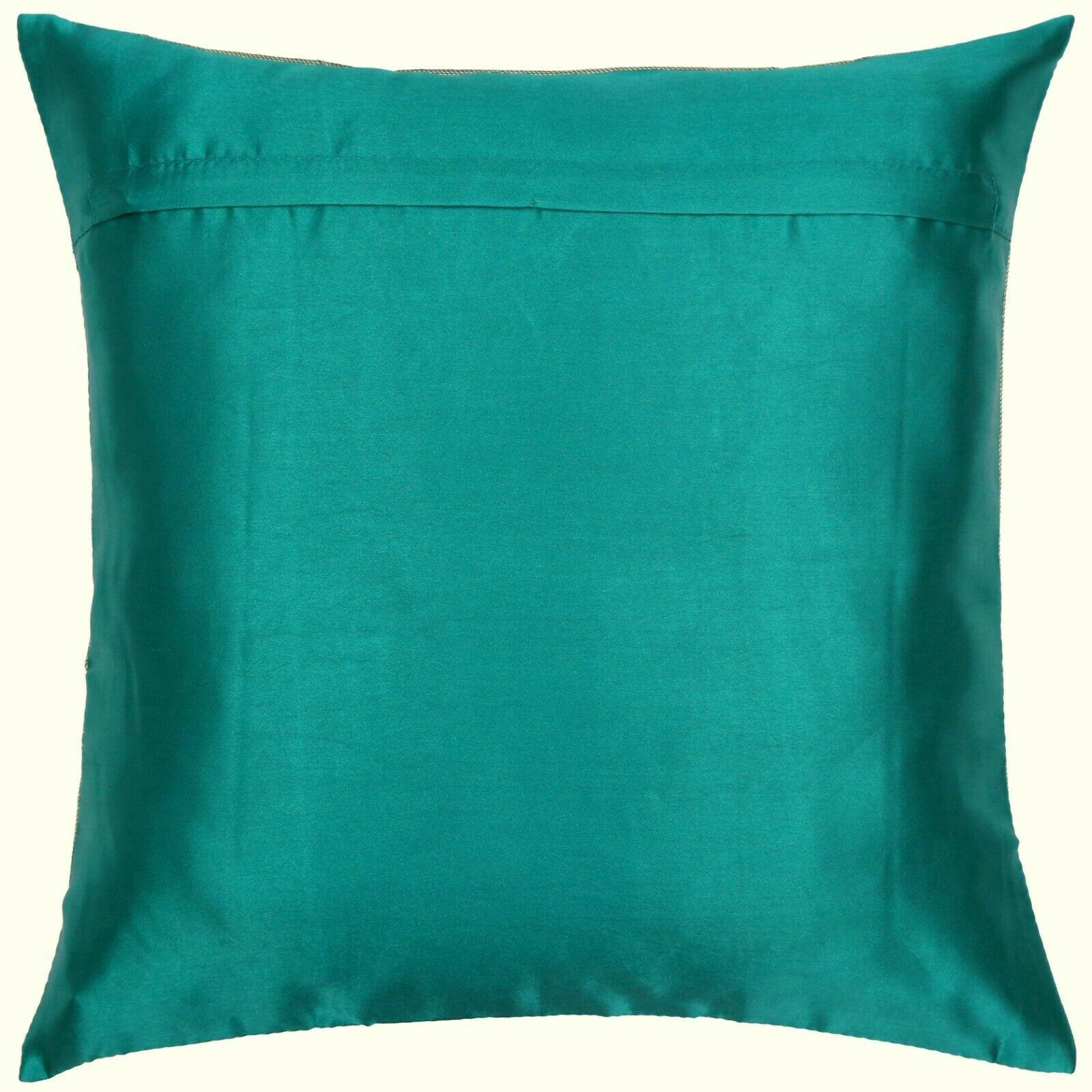 "16"" x 16"" Teal Mandala Silk Brocade Cushion Cover Pillow Throw Sofa Home Decor image 3"