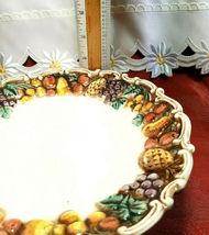 "VINTAGE LEFTON Della Robbia 8-1/2"" Pedestal Plate Hand Painted Multicolor 1950's image 6"
