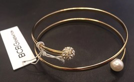 BCBGENERATION Gold Tone Bangle Bracelet With Faux Pearls & Pave Rhinesto... - $11.30