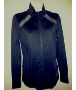 Michael Kors Zip Front Polyester Sport Yoga Jacket Top Coat Black Sz XS NWT - $38.61