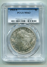 1921-S MORGAN SILVER DOLLAR PCGS MS63 WHITE NICE ORIGINAL PREMIUM QUALIT... - $95.00