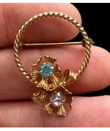 14K Gold Filled Flower Floral BROOCH Pin - signed - 1 1/4 inches - FREE ... - $39.50
