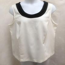 Dressbarn 20W Top White Black Trim Sleeveless Tank Plus Size - $19.58
