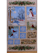 "23.5""X 42"" Flannel Panel Winter Cardinals Snowman Holiday Flannel Fabric... - $7.80"