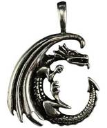 Celestial Dragon Moon Pewter Amulet with Cord - $9.99