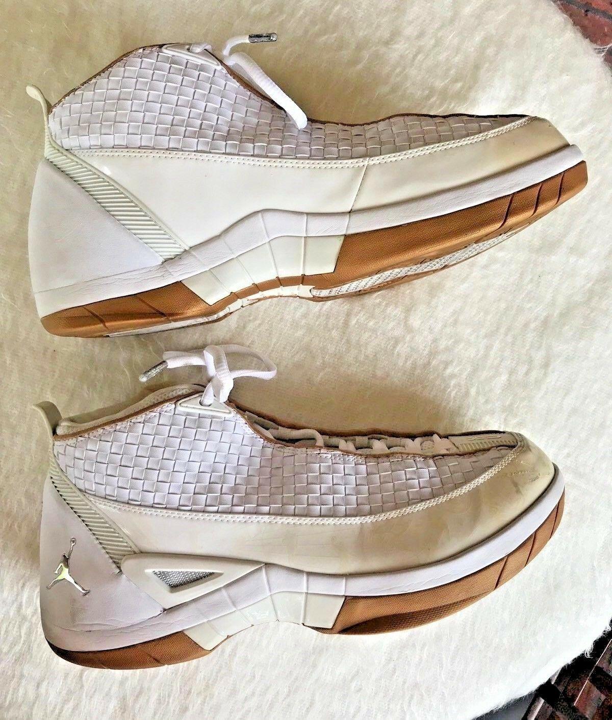 93ec789cc6aff8 Nike Air Jordan XV SE Size 11.5 High Top Tennis Shoes White Gold Silver  Leather