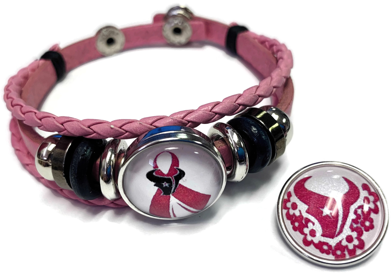 Breast Cancer NFL Houston Texans Pink Leather Bracelet W/2 Snap Jewelry Charms