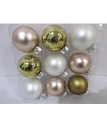 """Christmas Shabby Chic MINI  White Rose Gold Glass Ball Ornaments 1.5"""" Se... - $9.99"""