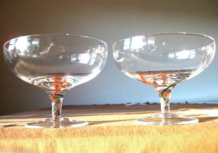 Lenox Holiday Ribbon Footed Crystal Compote Dessert Bowl Set of 2 Glasses New image 2