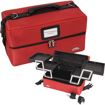 Red 2-Tiers Accordion Trays Soft-Sided Professional Makeup Case - C3011 - €45,52 EUR
