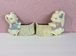 Vintage Burwood Products Homco Bunny Rabbit Wall Hanging Pockets Babys Room - $5.94