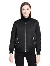 Calvin Klein Womens Black Sateen Ruched Bomber Jacket Coat Sz X-Large XL 7145-1 - $129.58