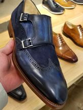 Handmade Men's Blue Leather & Suede Double Monk Strap Dress/Formal Shoes image 3