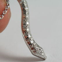 SOLID 18K WHITE GOLD SNAKE PENDANT WITH DIAMONDS CT 0.27 NECKLACE, MADE IN ITALY image 5