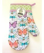 Butterflies Spring Oven Mitt Mainstays Easter Green Purple 100% Cotton New - $17.70