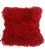 Pillow Decor - Mongolian Sheepskin Red Throw Pillow - $74.95
