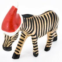 Hand Carved & Painted Jacaranda Wood Santa Hat Zebra  Safari Christmas Figurine image 2