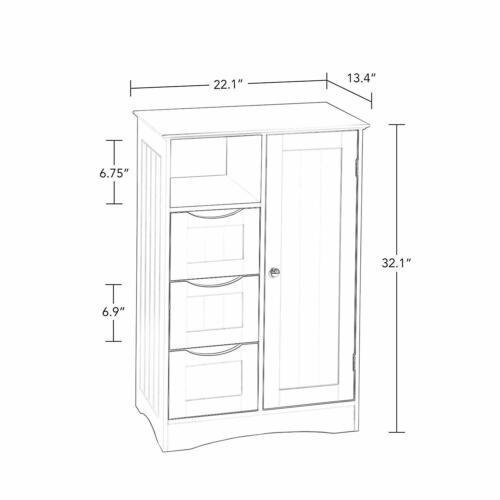Gray Grey Wooden Floor Cabinet Bathroom Shelf 3 Drawer Towel Storage Cubby Door