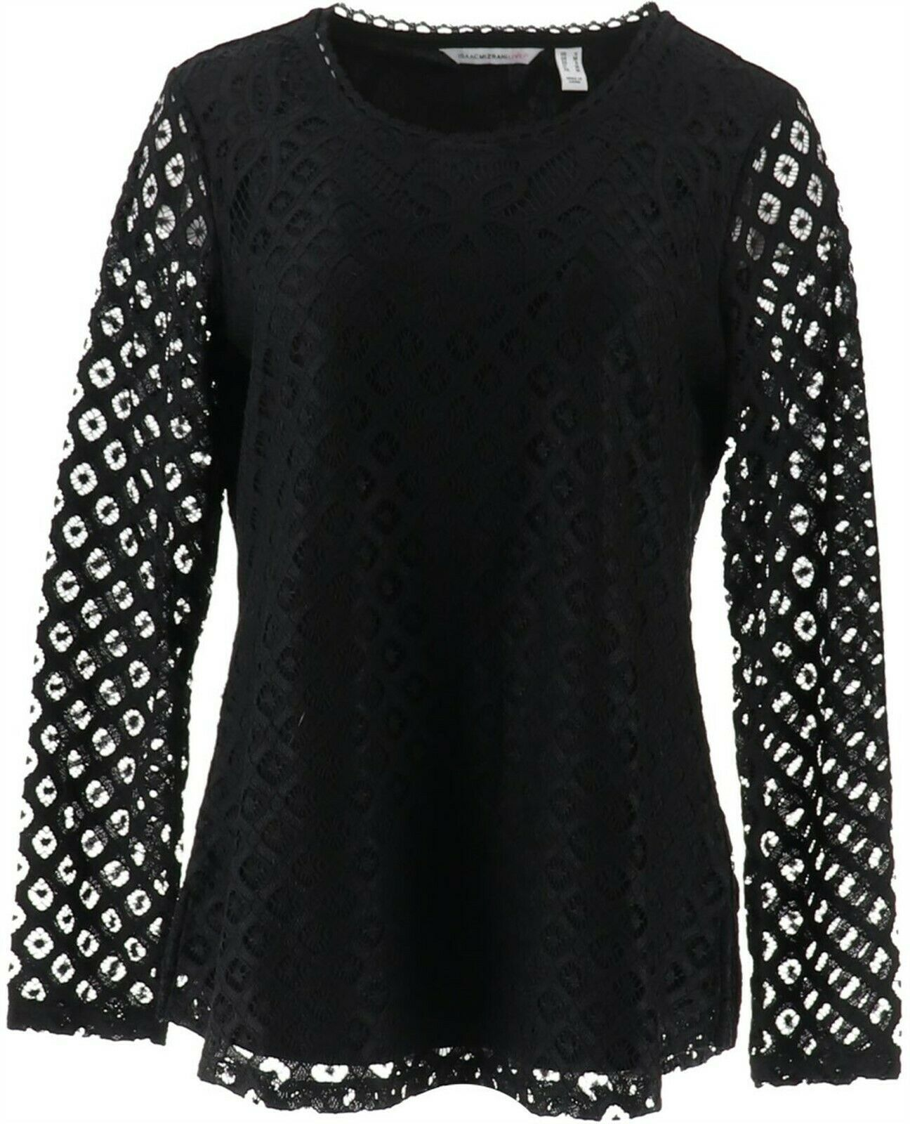 Primary image for Isaac Mizrahi Stretch Lace Scoop Neck Tunic Black XL NEW A294654
