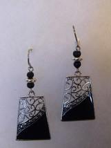 Pair Pierced Earrings Black Silver Tone Beaded Costume Fashion Jewelry - $10.66
