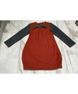 So What Girl's Long Sleeved Red Grey Sweater Dress With Bow Accent Size 4 - $8.29