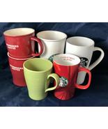 Lot of 6 Various Stoneware Starbucks Mugs Tall Short & In between - $34.65