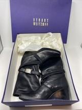 Stuart Weitzman Wrapumup Black Square Toe Wedge Boot Rubber Sole Mid Calf - $178.19
