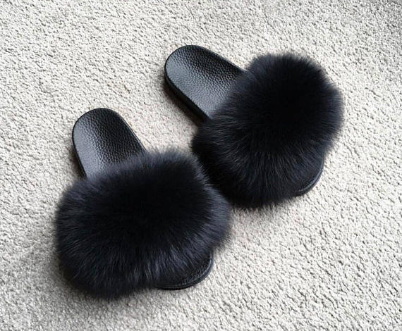 instagram fur sandals jet black poms flip flops genuine fox fluffy luxury fuzzy