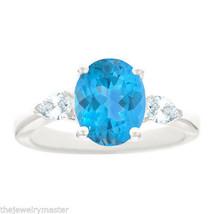BLUE TOPAZ & PEAR SHAPE DIAMOND ENGAGEMENT RING WHITE GOLD OVAL 10mmx8mm... - £1,078.57 GBP