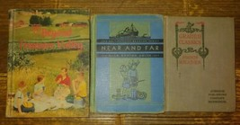 3 Vtg Antique School Books Textbooks beyond treasure valley hc near and far - $14.80
