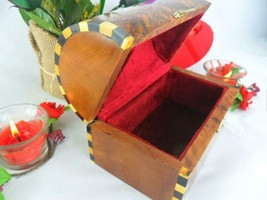 Red velvet lined box, thuya wooden valentine gift box, mexican treasure ... - $74.25