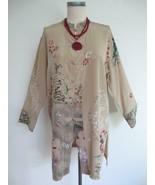 Chicos Silk Asian Theme Tunic Blouse 1 S 8 Beige Brown Artsy Block Print... - $39.99