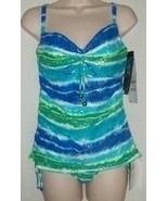 COCO REEF BLUE SEA TANKINI & CINCHED BOTTOM,34C/SMALL - £28.76 GBP