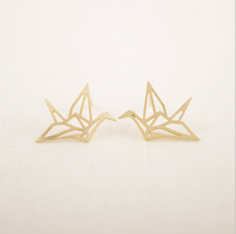 5 pairs of  Paper Cranes Golden Stud Earring Stud (NED037A) - $12.50