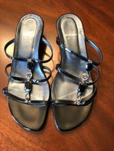 Stuart Weitzman Black Patent Jeweled Slide Sandals 8 Med. - $19.80
