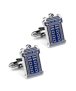 TARDIS CUFFLINKS Police Box Blue Silver Tone GIFT BAG Dr Doctor Who Sci Fi Fan - $10.88