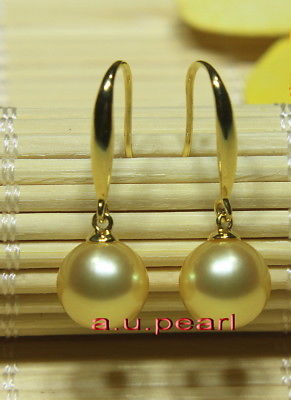 Top 18K GOLD 12-13MM round real NATURAL SOUTH SEA golden PEARL Dangle EARRINGS